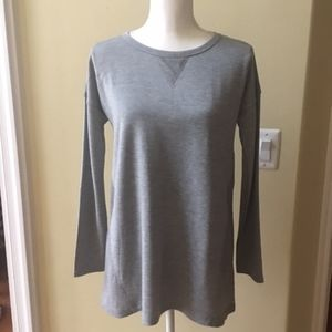 Cable & Gauge Gray High-Low Hem Mixed Media Tunic